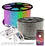 GreenSun Tiras LED 20M 5050 RGB Tiras de Luces LED, Tira de Luces de Exterior Control de Bluetooth Luces Decorativas de Exterior para Navidad, jardín, Partido