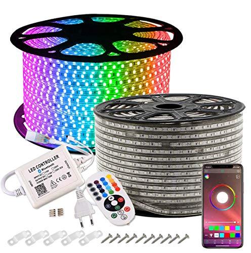 GreenSun LED Lighting Tiras LED 30m 5050SMD, RGB Tiras de Luces LED Iluminación con 60 Leds/m, Bluetooth Control Remoto de 24 Claves Impermeable IP65 para navidad, decoracion de fiestas