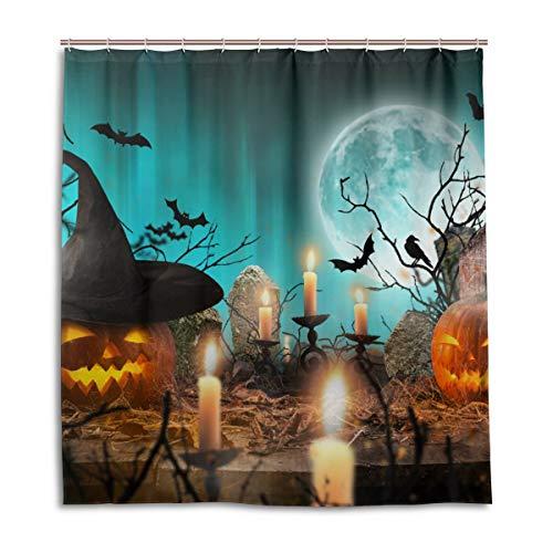 CPYang Duschvorhänge Halloween Nacht Kürbis Fledermaus Wasserdicht Schimmelresistent Badevorhang Badezimmer Home Decor 168 x 182 cm mit 12 Haken