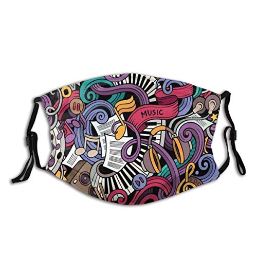 Ma-sk - Casco de guitarra para adultos y adultos, diseño de estrella de música con hip-hop, para DJ, Emo, reutilizable, lavable y reutilizable, de algodón, corte facial (1 pieza), color negro