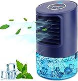 Aire Acondicionador Pequeño, Purificador de Humidificador de Ventilador Enfriador 4 en 1, con 3 Velocidades Temporizador de 2/4 Horas, 7 Colores LED Luces, para el Hogar y la Oficina (Azul)