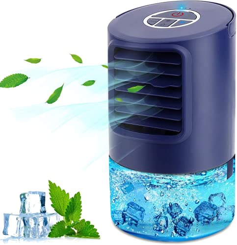 Aire Acondicionador Pequeño, Purificador de Humidificador de Ventilador Enfriador 4 en 1, con 3 Velocidades Temporizador de 2 4 Horas, 7 Colores LED Luces, para el Hogar y la Oficina (Azul)