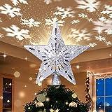 Weihnachtsbaumspitze Stern mit LED Projektion von dynamischen Schneeflocke Lichteffekte, Silber glitzende Christbaumspitze Weihnachtsbaumdeko, Netzteilbetriebene Baumspitze Stern Weihnachtsbaumschmuck