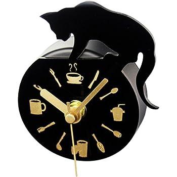 マグネット掛け時計 壁掛け時計 かわいい 子供部屋 掛け時計 冷蔵庫掛け 猫デザイン 冷蔵庫マグネット ミニ型
