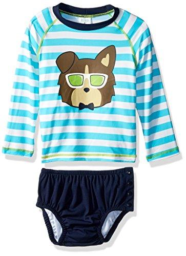 KIKO & MAX Baby Boys Rashguard and Diaper Cover Swim Set, Navy Dog, M