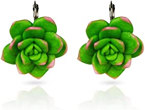 Clearance! Elogoog Green Mismatched Colorful Funny Cactus Succulents Plant Flower Shape Earrings Dangle Jewelry 1 Pair