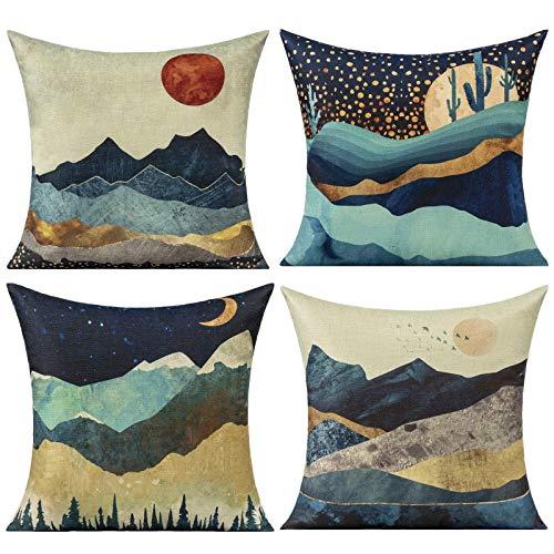 Fodere per cuscini da esterno primaverili Montagne Alba Scenario Copricuscini decorativi Acquerello Sun Moon Forest Cactus Fodere per cuscini per divano Divano Camera da letto 18x18 Confezione da 4