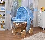 WALDIN Cuna Moisés, carretilla portabebés XXL, 44 colores a elegir,Madera/ruedas naturales sin tratamiento,color textil azul/a cuadros