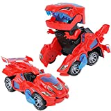 XILETAO Transforming Dinosaur LED Car with Light and Music, Dinosaur Toys for Kids 3-5-7, Dino Toy Cars Christmas Birthday Gifts for Toddlers Boys Girls (Red)