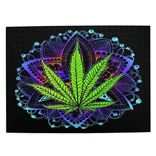 Yhouqukhdeueh Jigsaw Puzzles 500 Stück,Cannabisblatt,Marihuana,Kräuter,Unkraut,Ganja. Illegale narkotische,illegale Droge,Family Large Puzzle Game Artwork für Erwachsene Teens Kids