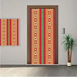 Native American ONE Piece Door Stickers,South American Aztec Motifs Original Ethnic Tribal Culture Folkloric Native Decorative 24x80' Peel & Stick Removable Wall Mural,Decal,Poster for Door/Wall/Fridg