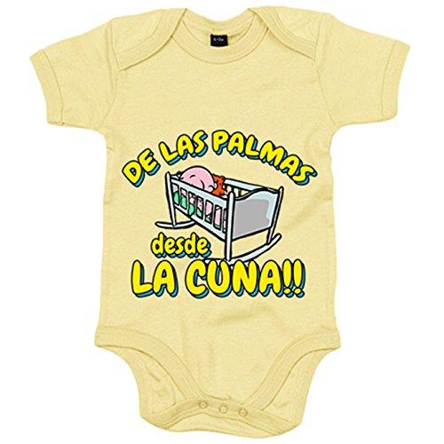 Body bebé de Las Palmas desde la cuna Gran Canaria fútbol - Amarillo, 6-12 meses