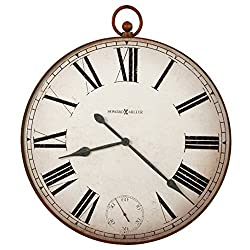 Howard Miller Gallery Pocket Watch II Wall Clock 625-647 – Aged Red Finish, Distressed White Background, Roman Numerals, Antique Home Décor, Quartz Movement