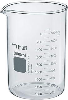 ADAMAS-BETA Heavy Duty Griffin Beaker 2000mL Glass Laboratory Beaker Measuring Cup,Double Scale,Borosilicate 3.3 Glass,Pack of 1
