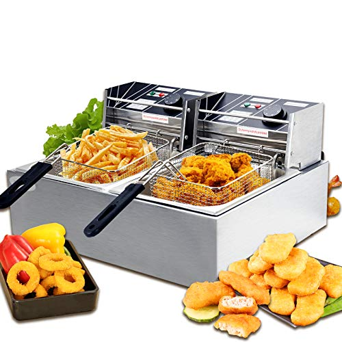 SUNCOO 16Liter Large Electric Fryer Deep Fryer Commercial French Fryer Countertop with Removable Baskets Stainless Steel Restaurant Home Kitchen 2 Baskets Double Tank 3600W
