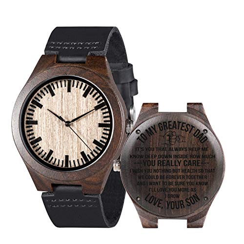 Mens Customized Engraved Wooden Watches Quartz Casual Wristwatches for Men Husband Boyfriend Dad Son Family Friends Personalized Gift (for dad from Son)