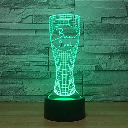 Lámpara visual 3D Ilusión óptica Luz nocturna LED 7 colores cambiantes Luz nocturna táctil Un regalo perfecto de Navidad y Año Nuevo para niñas y niños: linda botella de bebida
