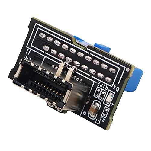 Joliy Versión de actualización Vertical USB 3.1 Panel Frontal Socket Key-A Type-E a USB 3.0 20Pin Header Adaptador de extensión Macho para Placa Base