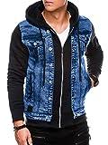 Ombre - Chaqueta vaquera para hombre y chaqueta de entretiempo / diseño moderno combinado con mangas y capucha / en tallas S – XXL y 3 colores Negro S