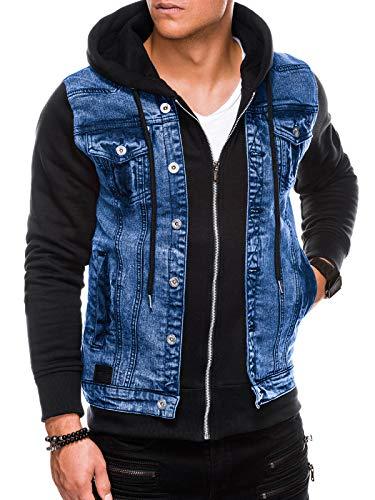 Ombre Herren Jeansjacke und Übergangsjacke   Kombi-Design   Sweat-Ärmeln und Kapuze   Größen S-XXL   2 Farben   98% Baumwolle, 2% Elasthan   M Schwarz