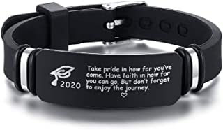 MEALGUET 2020 Grad Cap and Inspirational Quote Engraved Silicone Bracelet Graduate ID Bracelet Wristband Graduation Gift for Son Friend Men Boy