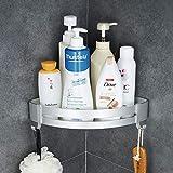 Hoomtaook Accesorios Baño Sin Taladro Estantería de Esquina para Baño Ducha, Pegamento Patentado + Autoadhesivo, Aluminio, Acabado Mate, Estantes 1 Piezas