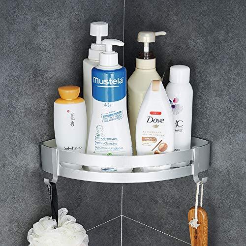Hoomtaook Duschregal Badezimmerablage Duschregal Ablage nagelfrei Keine Beschädigung Ohne Bohren Aluminiumfläche Rostfrei Korb für Küchen- und Badezimmerzubehör