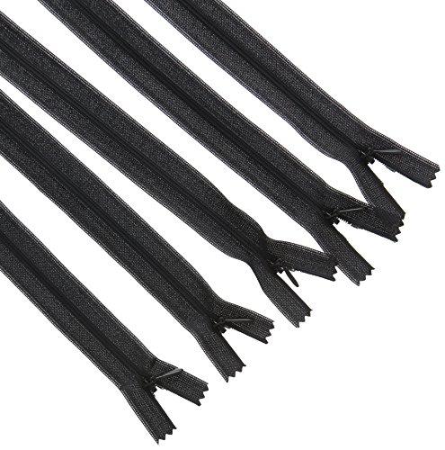 LEDUC unsichtbare Reißverschlüsse, Kunststoff, Schwarz, 22cm, 5-teilig