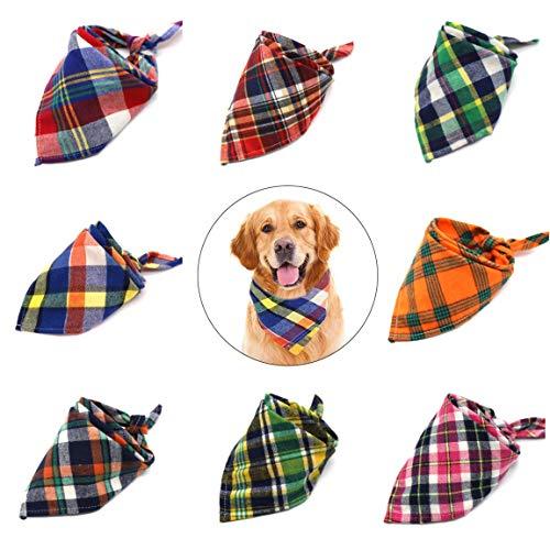 nobrand Bandana Hundehalsband Hunde-Bandana, 8 Stück Kariertes Lätzchen Schal, waschbar Reversible Adjustable Dreieck Hund Schal Bow Ties for Haustiere und Katzen Hundebandana groß