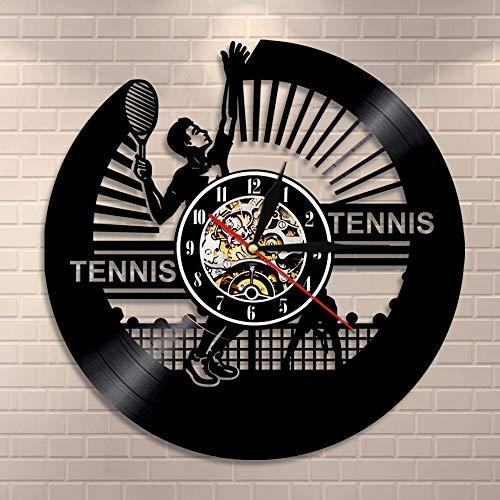 Atxbfg Reloj de Pared de Tenis Silueta de Jugador de Tenis Reloj de Pared con Disco de Vinilo Deportes Retro Raqueta temática decoración del hogar Ideas de Regalos para Amantes del Tenis