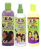 Africa's Best Kids Organic - Lot de 3 soins capillaires pour enfant - shampoing soin Ultimate Moisture au beurre de karité/après-shampoing démêlant 2 en 1/lotion capillaire hydrante et démêlante