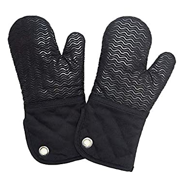 Silicone Groment Oven Mitts with Heat Resistant Non-Slip Set of 2, Cotton Quilting Lining, Oven Gloves and Pot Holders Kitchen Set for BBQ Cooking Baking, Grilling, Barbecue, Machine Washable Black