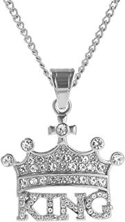 Halin Dre Hip Hop Plated 18K Gold Stainless Steel Iced Out Crystal Crown Pendant Necklace