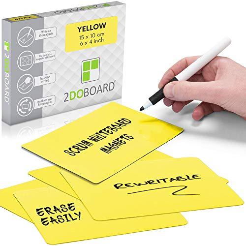 2DOBOARD Etichette Magnetiche Scrivibili - 15 x 10 cm Giallo - 25 pezzi – Scrum Cards - Kanban Board, Scrum Board o Lavagna Magnetica per Frigorifero (Giallo)
