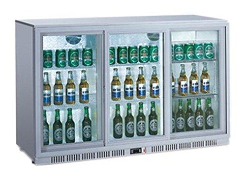 Frigorífico para botellas de acero inoxidable con 3 puertas abatibles, frigorífico para bebidas comerciales, 300 litros