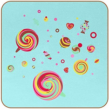 Sweet Lollipop and Candy Coasters for Drinks Set of 6 Coasters for Coffee Mugs Cups Beer Wine product image