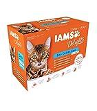 iams delights - multipack, alimento umido per gatti adulti, gusti assortiti sapori di mare in salsa - 12 bustine da 85 gr