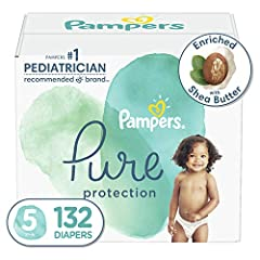 Pampers Pure Protection diapers are crafted with thoughtfully chosen materials for dry and healthy skin Absorbent plant-based liner. Plant-based and polypropylene fiber, enriched with shea butter to help protect skin Hypoallergenic and free of chlori...