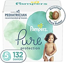 Diapers Size 5, 132 Count - Pampers Pure Protection Disposable Baby Diapers, Hypoallergenic and Unscented Protection, ONE MONTH SUPPLY (Packaging May Vary)
