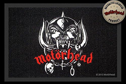 –Felpudo (60x 40cm, antideslizante, diseño a elegir, (con pequeño regalo gratuito), poliamida, Motörhead -Logo - Schwarz, 40 x 60cm