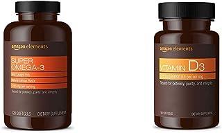Amazon Elements Super Omega-3, Natural Lemon Flavor, 1280 mg per Serving (2 Softgels), 120 Softgels & Vitamin D3, 5000 IU, 180 Softgels, 6 Month Supply