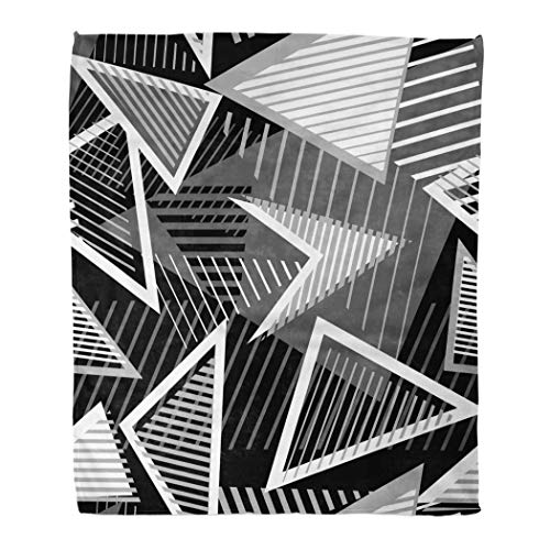 Janyho Practical Blanket Abstract Monochrome Sport Style Chaotic Shapes Triangles Arrows Lines Stripes Urban Art Suitable Four Season Sleeping Bedroom Home Living Room Sofa Camping 50 X 60 Inch