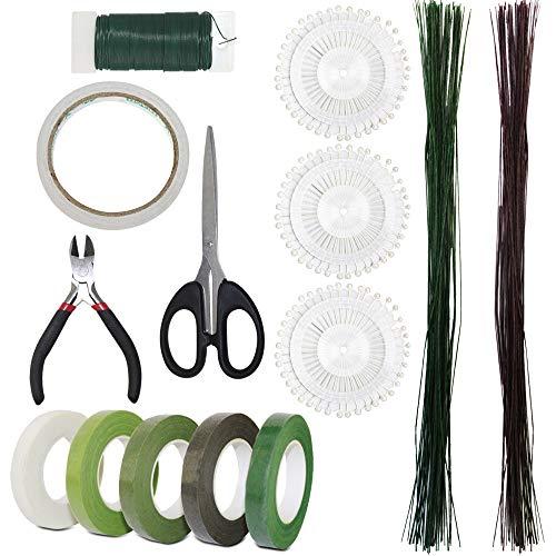SourceTon - Juego de 14 cintas florales y envolturas para cortar alambres florales, calibre 22, alambre floral de calibre 26, alambre verde floral, tijeras pequeñas, 3 agujas de...