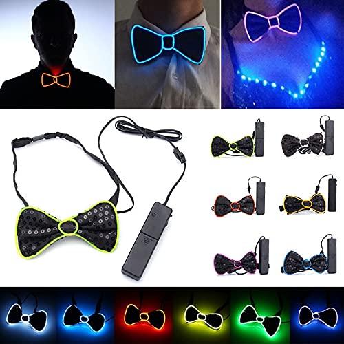 La batería LED se ilumina for arriba la corbata for hombre de la corbata de lazo for el banquete de boda de Halloween DC3V ILFYJRHD (Color : Color Green)