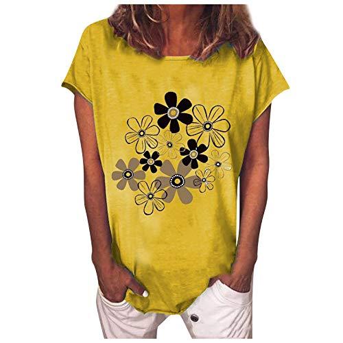 Blusa de verano para mujer, camiseta básica de verano, elegante, suelta, informal, manga corta, cuello redondo, túnica, Amarillo A., XL