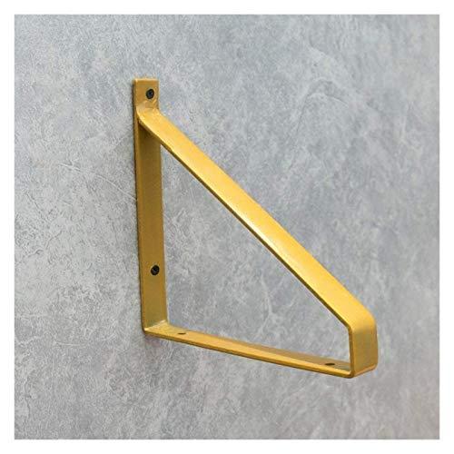 XJRHB 2 Wandhalterungen mit Wandmontage, Schmiedeeisen schwimmende Regalhalterungen, wandmontierte DIY-dreieckige Regalklammern, Platzersparnis, mit Schrauben (Color : Gold, Size : 20cm/7.9in)