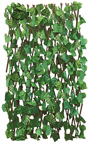 MP Essentials Outdoor Garden Realistic Artificial Wood & Green Leaf Solar Trellis