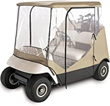 North East Harbor Waterproof Superior Beige and Transparent Golf CART Cover Enclosure for Club CAR, EZGO, Yamaha, FITS Most Two-Person Golf CARTS