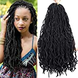 Faux Locs Crochet Hair Micro Locs Extensions Soft Dreadlocks Hair Long Crochet Locs Hair 20 Inch Synthetic Loc Extensions (20 inch-4pack, 1B)