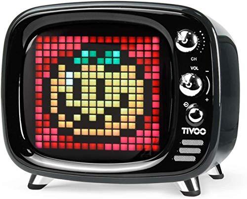 Divoom Tivoo Classic Retro Bluetooth-Lautsprecher mit 6 W Audio, programmierbarer LED-Bildschirm, gesteuert von der Mobile App (schwarz)